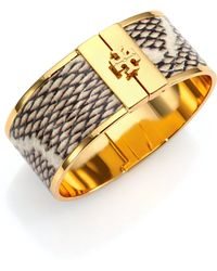 Tory Burch Skinny Snake-Embossed Leather-Inlay Cuff Bracelet - Lyst
