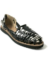 Ix Style Women'S Black & White Woven Leather Huarache Sandal - Lyst