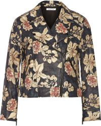 Elizabeth And James Lily Floral-Print Leather Jacket - Lyst