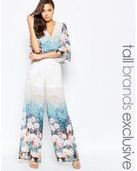True Decadence Floral Border Print Jumpsuit - Multi - Blue