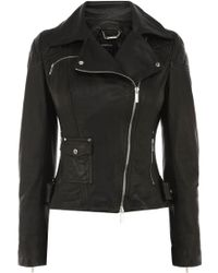 Karen Millen Leather Jacket with Silver - Lyst