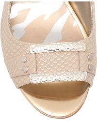 Anne Klein Urbain3 Mid Heel Sling Back Shoes - Natural