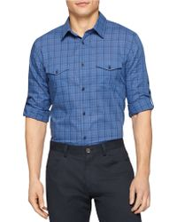 Calvin Klein Plaid Sportshirt blue - Lyst