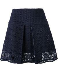Chloé Broderie Anglaise A-Line Skirt blue - Lyst