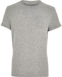 River Island Grey Crew Neck T-Shirt - Lyst
