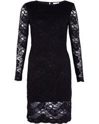 Ganni Long Sleeve Lace Dress - Lyst