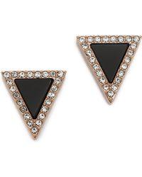 Michael Kors Semi Precious Triangle Stud Earrings - Rose Gold/Onyx - Lyst