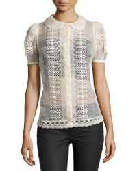 RED Valentino Lace Short-Sleeve Blouse - Lyst