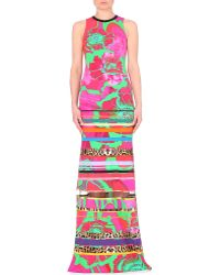 Roberto Cavalli Abstract-Print Jersey Gown - For Women - Lyst