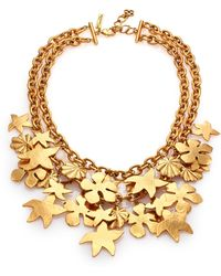 Oscar de la Renta Seashell Charm Two-Row Statement Necklace - Lyst