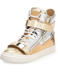Giuseppe Zanotti Metallic Colorblock Hightop Sneaker Silvergold - Lyst
