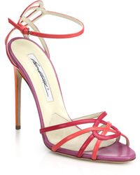 Brian Atwood Cassia Colorblock Leather Sandals - Lyst