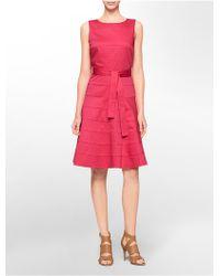 Calvin Klein White Label Tonal Wide Stripe Tie Belt Sleeveless Fit + Flare Dress - Lyst