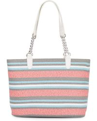 Saks Fifth Avenue Tricolor Straw Chain Handle Tote - Lyst