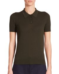 The Row Miran Knit Polo Shirt green - Lyst