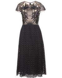 Erdem Shirly Crochet-Knit And Embroidered Dress black - Lyst