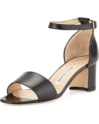 Manolo Blahnik Laurato Leather Chunky Heel Sandal - Lyst