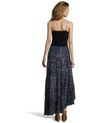 Love Sam - Black And Blue 'shiburi' Print Peasant Skirt - Lyst