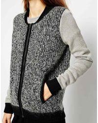 Shae Mohair Blend Zip Front Heathered Baseball Jacket - Lyst