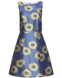 Alice + Olivia Epstein Jacquard Dress blue - Lyst
