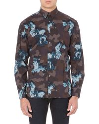 PS by Paul Smith Floral Overlay Regularfit Shirt Grey - Lyst