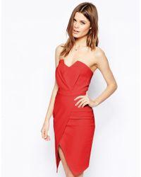 Asos Bandeau Wrap Dress - Lyst