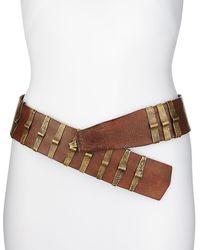 Donna Karan Leather Belt with Punch Brackets - Brown