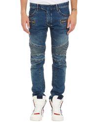 Balmain Denim Moto Jeans - Lyst