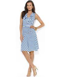 Ralph Lauren Lauren Sleeveless Striped Belted Dress - Lyst