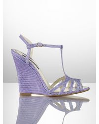Ralph Lauren Collection Lizard Warisa Wedge - Lyst