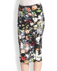 McQ by Alexander McQueen Floral-print Stretch Cotton Jersey Pencil Skirt - Lyst