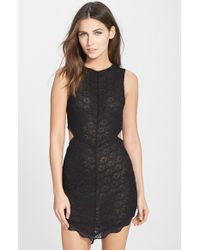 Free People 'Midnight Hour' Scalloped Lace Slip black - Lyst
