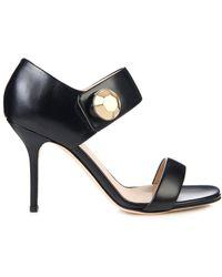 Christopher Kane Big-Crystal Leather Sandals black - Lyst