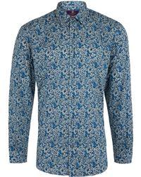 Liberty - Men's Blue Emma And Georgina Print Cotton Shirt - Lyst