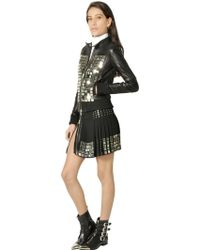 Diesel Black Gold Leather Moto Jacket with Metal Plackets - Lyst