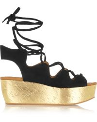 See By Chloé Liane Metallic Cork And Suede Wedge Sandals - Lyst