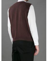 Dolce & Gabbana Fine Knit Vneck Vest - Brown