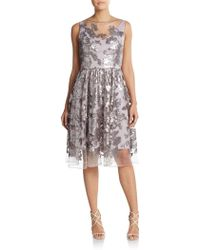 Vera Wang Metallic Sequined Illusion Top Dress silver - Lyst