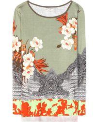 Etro Printed Silk Sweater - Lyst
