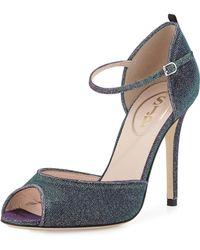 SJP by Sarah Jessica Parker Ursula Iridescent Fabric Sandal - Blue