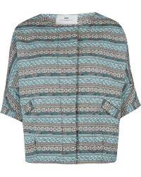 Day Birger Et Mikkelsen Turquoise Genus Embroidery Collarless Half Sleeve Jacket - Lyst