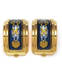 Hermès HermãˆS Gold & Blue Earrings - Lyst