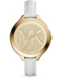 Michael Kors Slim Runway Gold-Tone Leather Watch - Lyst