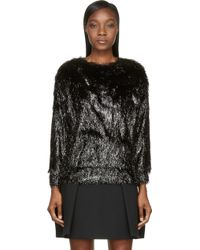 Jay Ahr Black Glossy Fringe Pullover - Lyst