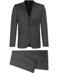 HUGO Slim-fit New-wool 3-piece Suit: 'awart/wiran/hamen2' - Grey