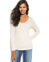 Eileen Fisher Long-sleeve Scoop-neck Sweater - Lyst