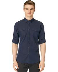 Calvin Klein Slim Fit Fine Stripe Sport Shirt - Lyst