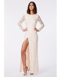 Missguided Aaliah Lace Side Split Maxi Dress Nude - Lyst