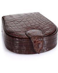 Santiago Gonzalez Crocodile Cuff Links & Case brown - Lyst