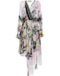 Preen Printed Satin Devore Naja Dress in Painted Flower - Lyst